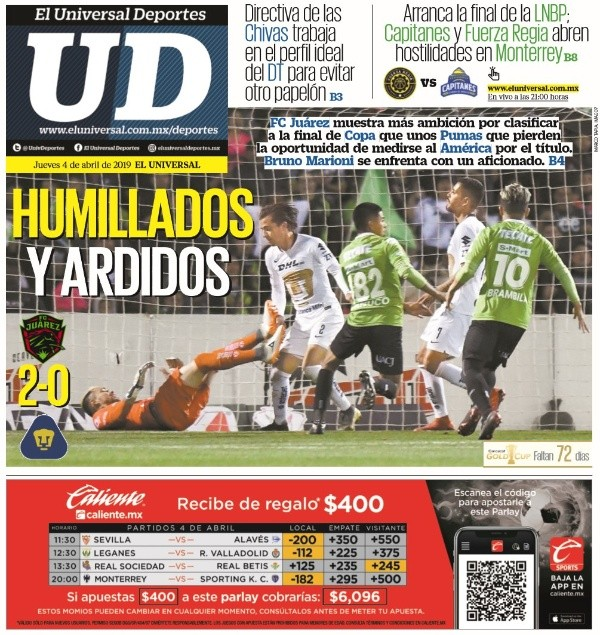 8c8063b64 Más directos en sus análisis fueron Ovaciones y el suplemento Adrenalina  del diario Excelsior, quienes no dudaron en sus calificativos para Pumas:  ...